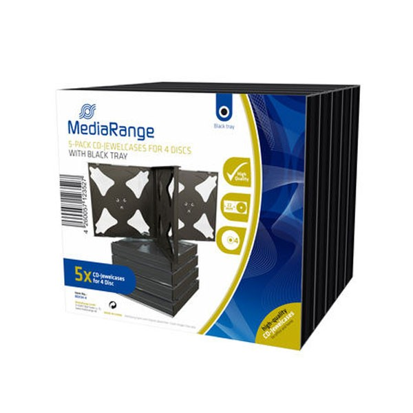 MediaRange Caja CD Jewel p/4 discos Pack 5 uds