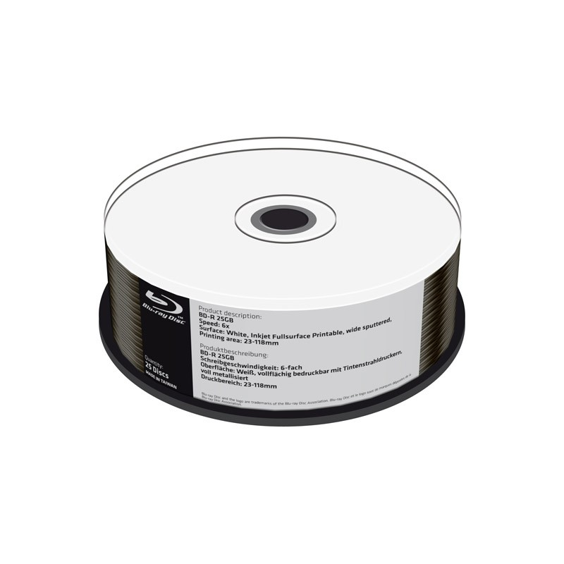 Blu-ray BD-R SL 25GB 6X MediaRange FF Ink Printable Metalizado Inferior Cake 25