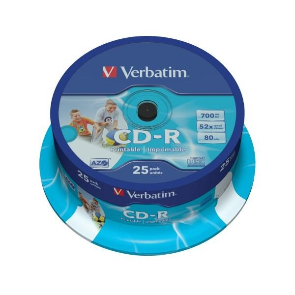 CD-R 52x FF Printable Verbatim AZO Tarrina 25 uds ID Branded