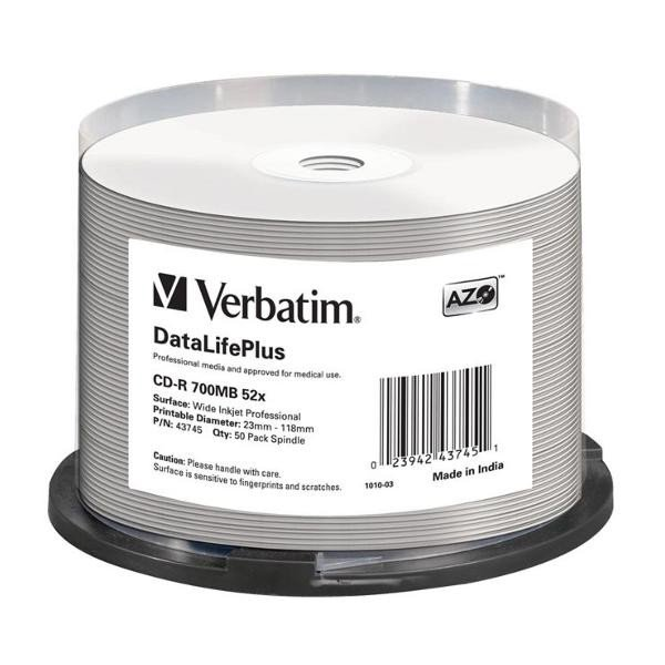 CD-R 52x FF Printable Verbatim Pro. Tarrina 50 uds (no ID)