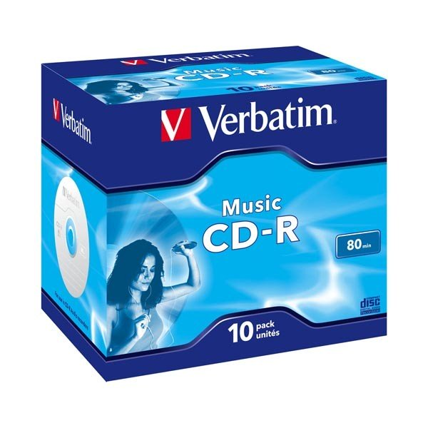 CD-R Audio Verbatim 80 min 'Live it Cool Blue' Caja Jewel 10 uds