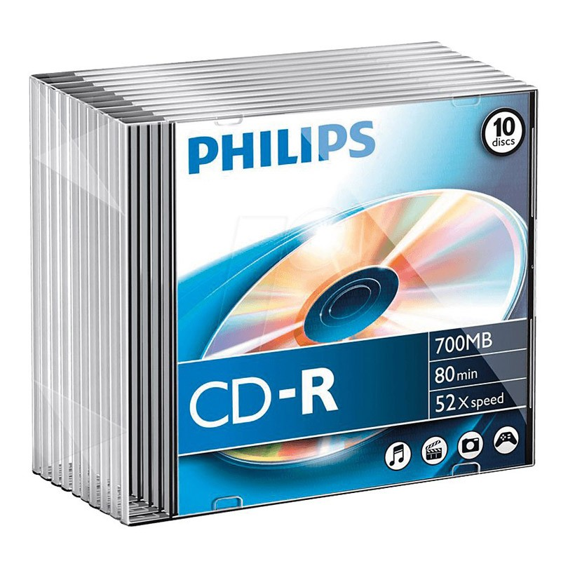 CD-R 52x 700MB Philips Caja Slim 10 uds