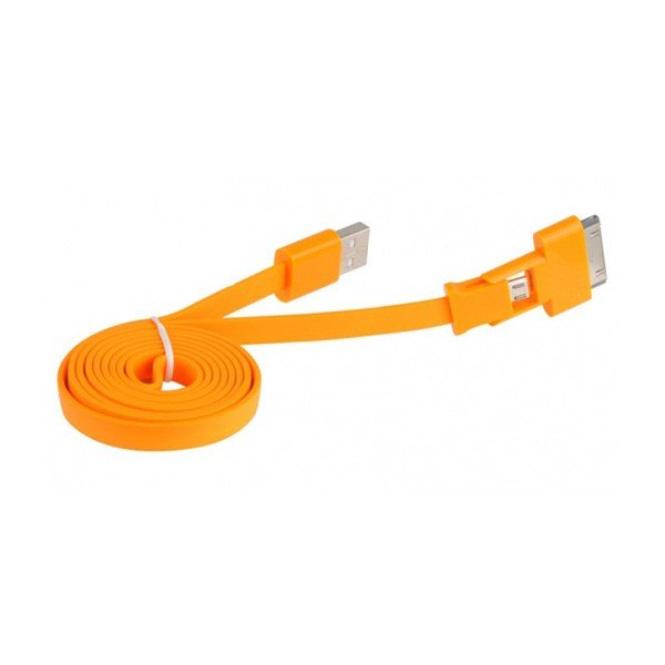 Cable Adaptador USB A a Micro USB / Apple 30 PIN 3Go C118 Naranj