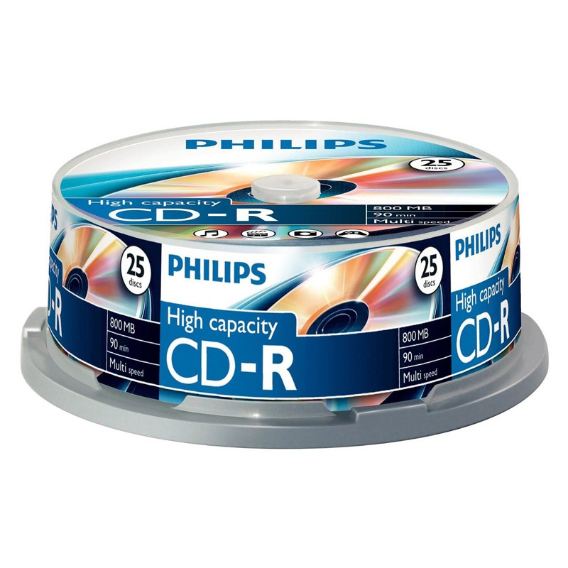 CD-R 52x 800MB Philips Alta Capacidad Tarrina 25 uds