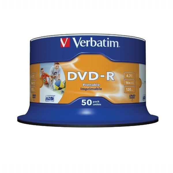 DVD-R 16x Verbatim Printable WIDE NO ID Tarrina 50 uds