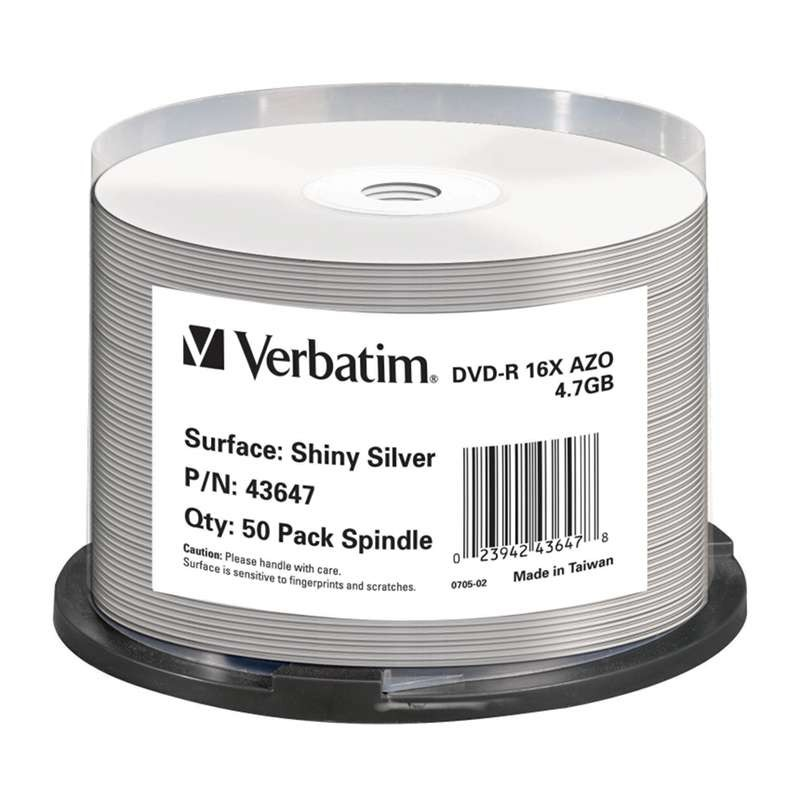 DVD-R 16x Verbatim Thermal Printable Plata Brillante T. 50 uds