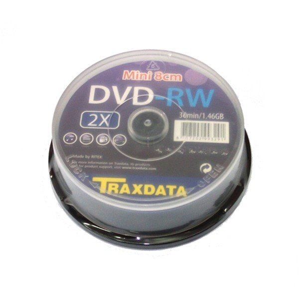 Mini DVD-RW Traxdata (by Ritek) 1.4GB Tarrina 10 pcs