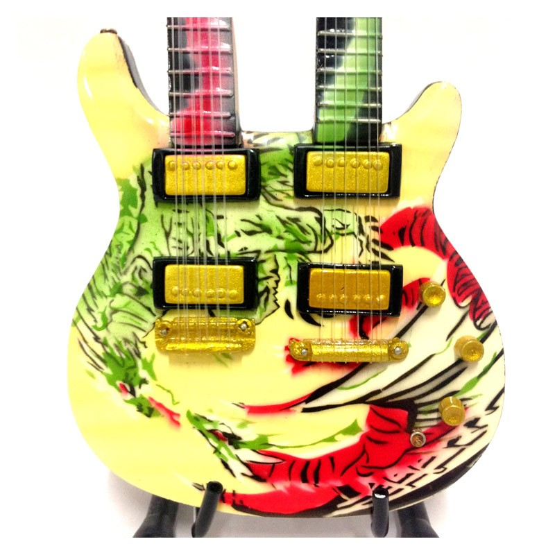 Mini Guitarra De Colección Estilo Carlos Santana - Double Neck Dragon Signature