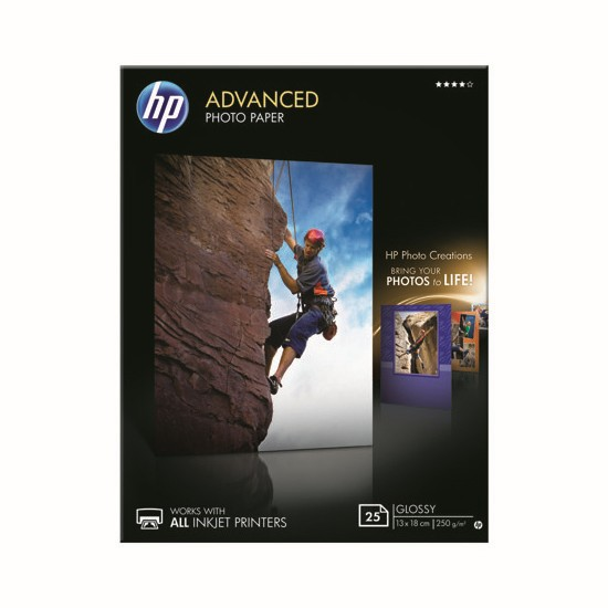 HP Papel Foto Advanced Glossy 250 G/m2 Pack 25 uds (130 x 180mm)