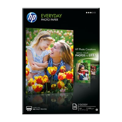 HP Papel Foto Glossy 200 G/m2 Pack 25 uds DIN-A4
