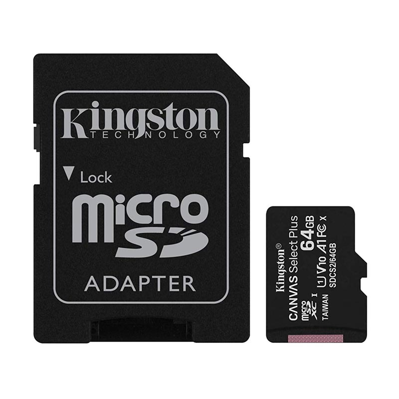 Tarjeta MicroSDXC 64GB Clase 10 UHS-I V10 Kingston Canvas Select Plus c/Adap
