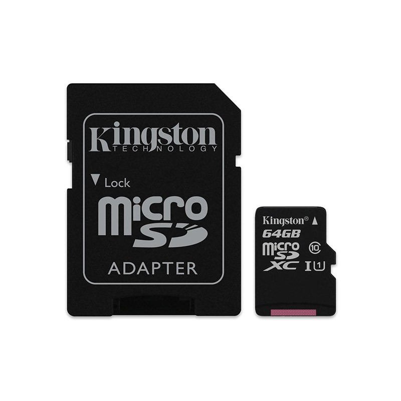 Tarjeta MicroSDXC 64GB Clase 10 UHS-I Kingston Canvas Select 80 MB/s - c/adapt