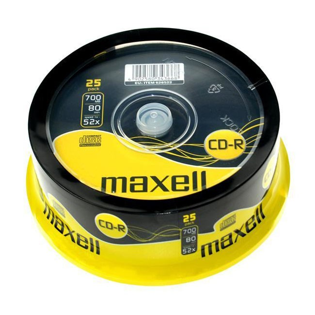 CD-R 52x 700MB Maxell Tarrina 25 uds