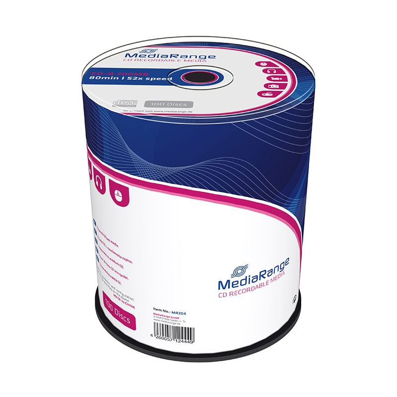 CD-R 52x 700MB MediaRange Tarrina 100 uds