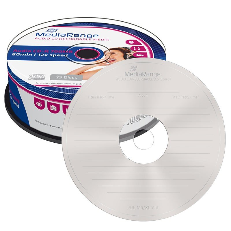 CD-R Audio MediaRange 80 min Tarrina 25 uds