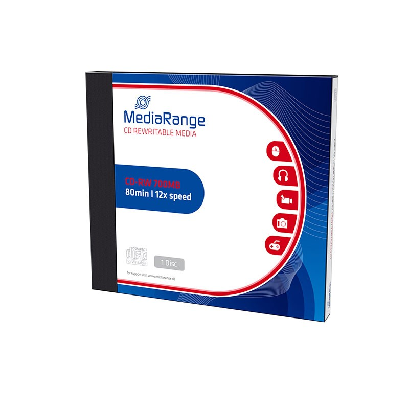 CD-RW 12x 700MB MediaRange ReWritable Caja Jewel 1 Uds