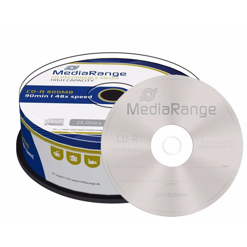 CD-R 52x 800MB MediaRange (90 minutos) Tarrina 25 uds