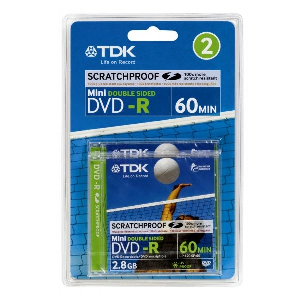 Mini DVD-R 2x TDK 2.8GB Doble Cara Caja Jewel 2 pcs