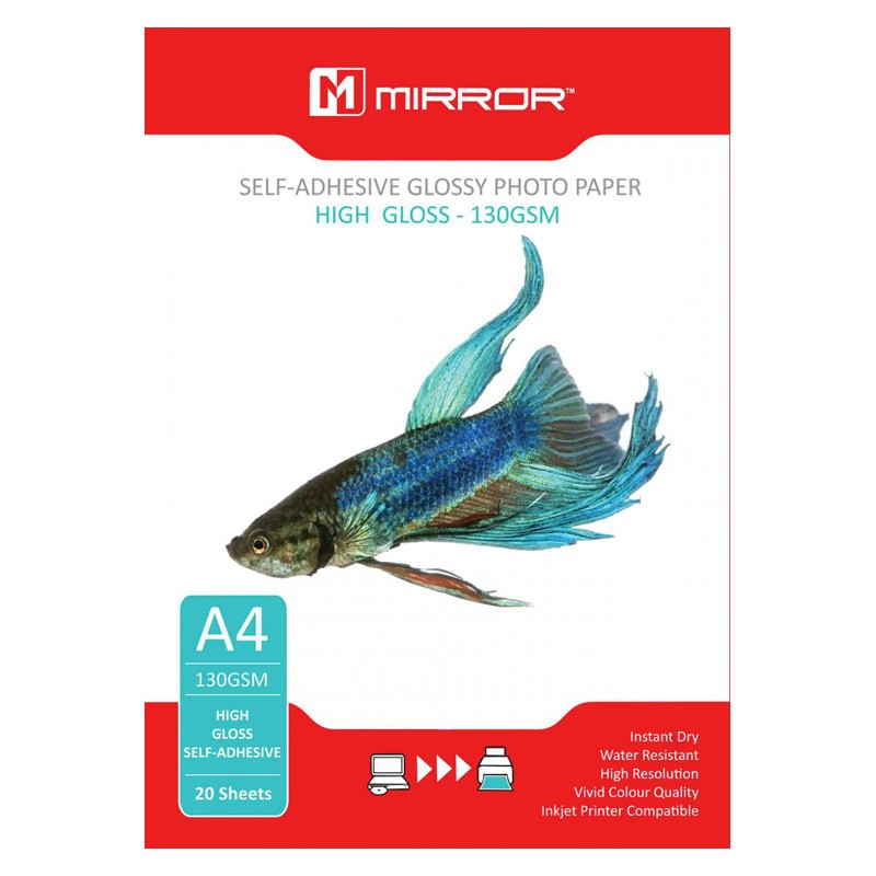 Mirror Papel Adhesivo Foto Glossy 130 G/m2 Pack 20 uds A4