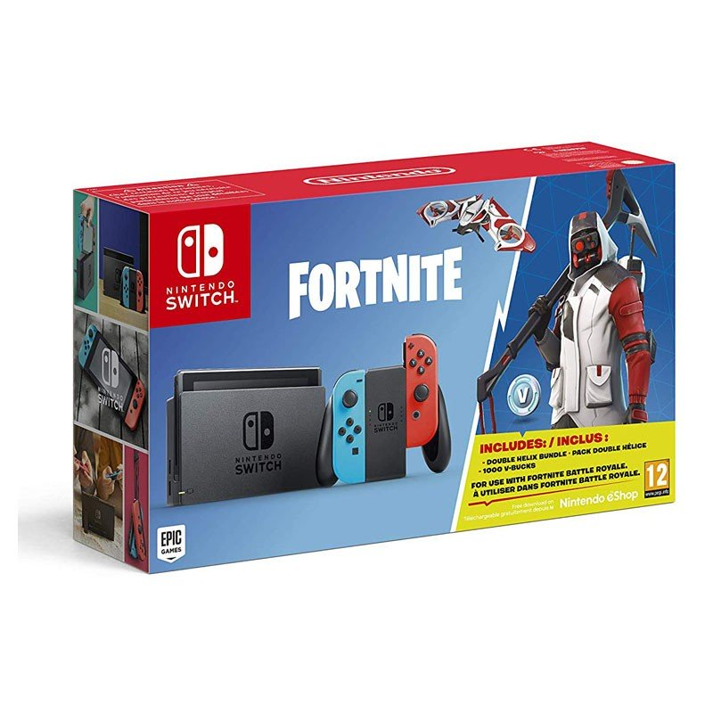 Nintendo Switch Azul Neón Rojo Neón + Fortnite
