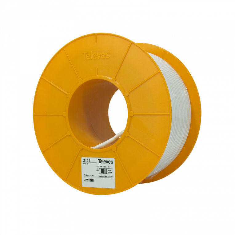 CABLE COAXIAL TELEVES T100PLUS PVC ECA BL. 100M