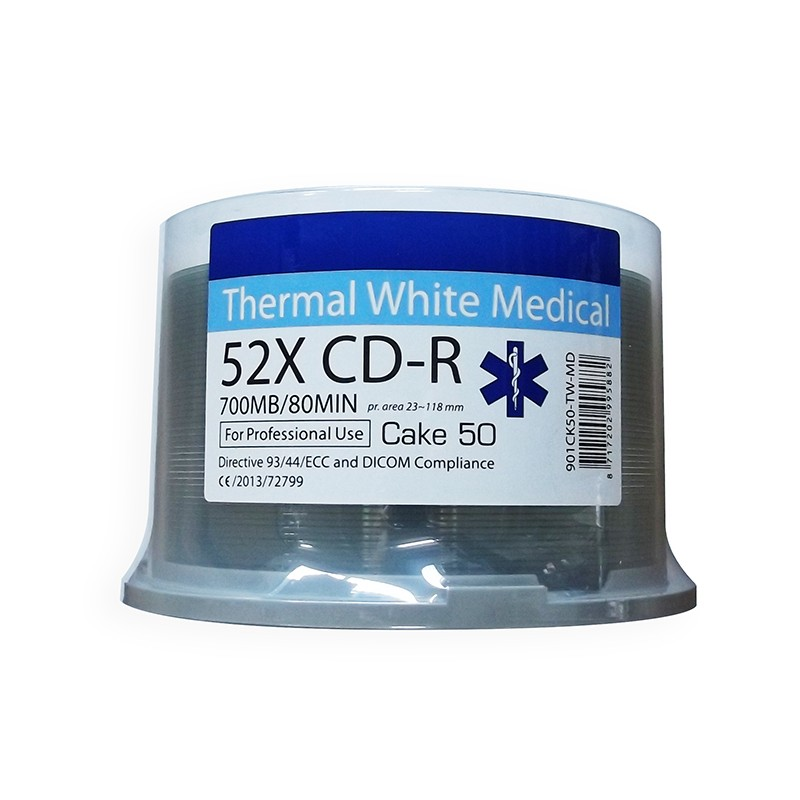 CD-R 52X Ritek Medical Series Thermal FF White Tarrina 50 uds