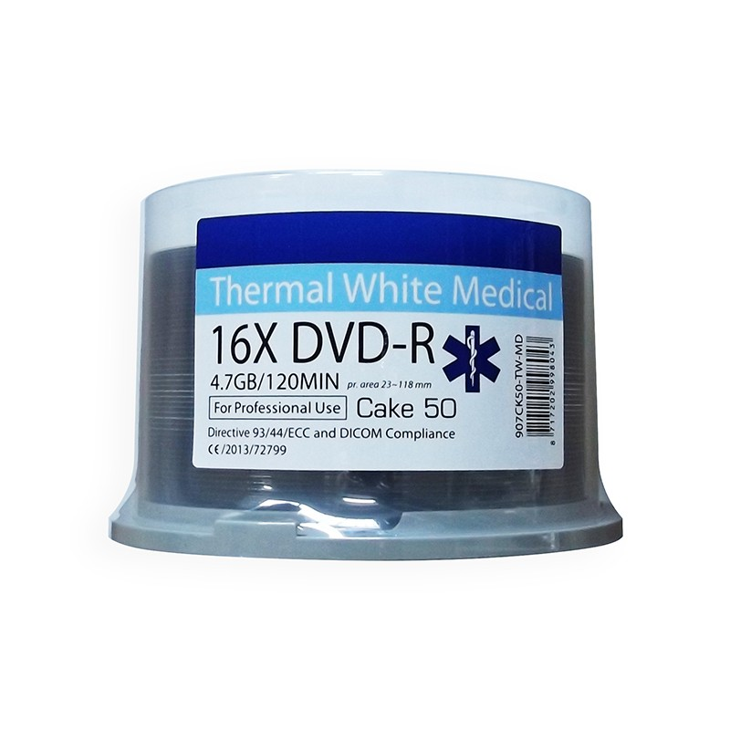 DVD-R 16X Ritek Medical Series Thermal FF White Tarrina 50 uds