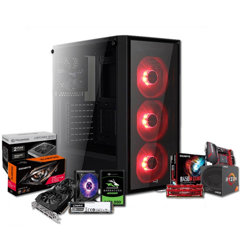 PC Gaming BARBAROJA Ryzen 7 2700 16GB 250GB SSD 1TB HDD RX5700 8GB v1.4