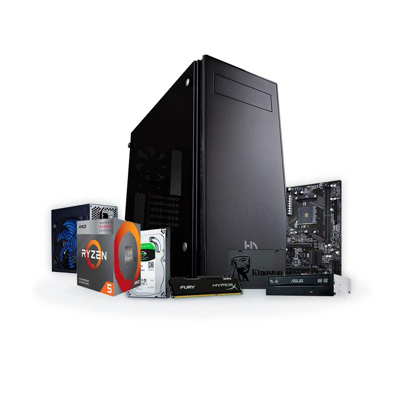 PC Black 2020 S - Ryzen 5 3400G 8GB 240GB SSD + 1TB