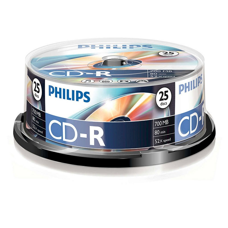 CD-R 52x 700MB Philips Tarrina 25 uds