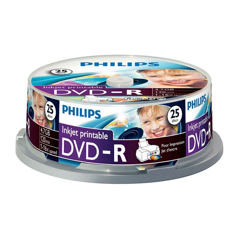 DVD-R 16X Philips Printable Tarrina 25 uds