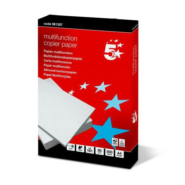 Papel Multifuncion 5 Star DIN-A4 80g pack 500 pcs (Red)