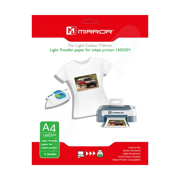 Papel Transfer Camisetas Claras Mirror 150G/m2 A4 5 pcs