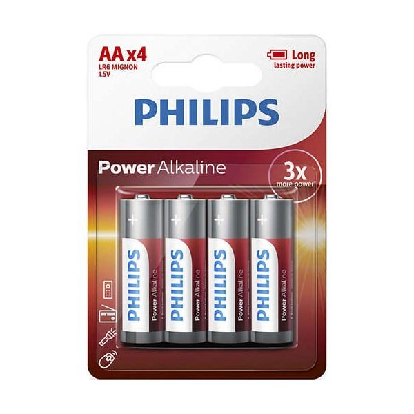 Pila Alcalina AA Philips Power Alkaline pack 4 uds (LR06)