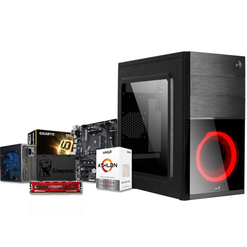 PC Portal Red Athlon 3000G Radeon Vega 3 8GB DDR4 240GB SSD