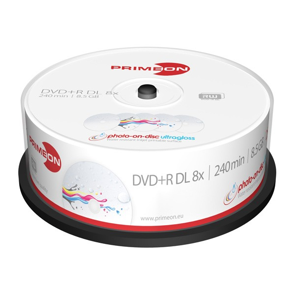 DVD+R Doble Capa 8x PrimeON FF Photo UltraGloss Tarrina 25uds