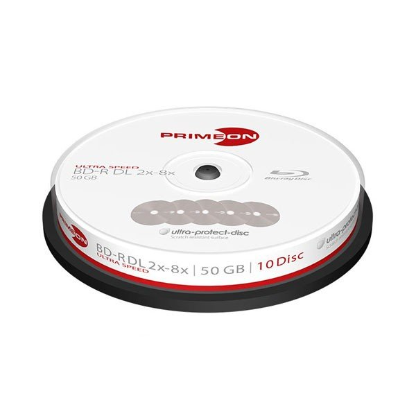 Blu-ray BD-R DL 50GB 8x Primeon Ultra Protect Disc Surface Tarrina 10 ud