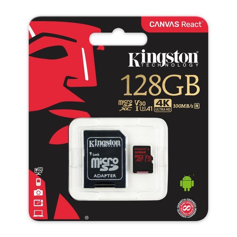 Tarjeta MicroSDXC 128GB Clase A1 UHS-I 3 Kingston Canvas React c/Adapt