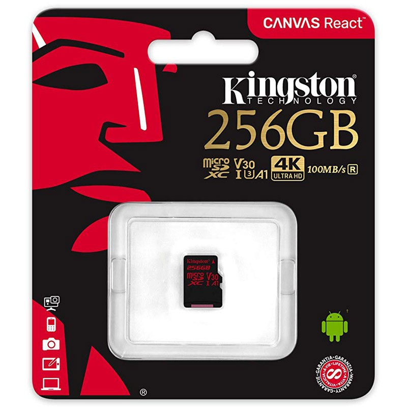Tarjeta MicroSDXC 256GB Clase A1 UHS-I U3 Kingston Canvas React
