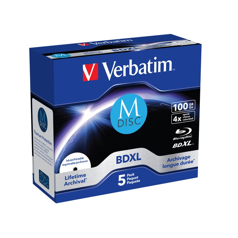 M-Disc BD-R XL 100GB 4x Verbatim FF Printable Caja Jewel 5 uds