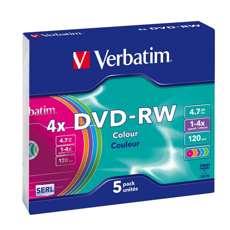 DVD-RW Verbatim 4x Colours Caja Slim Pack 5 uds