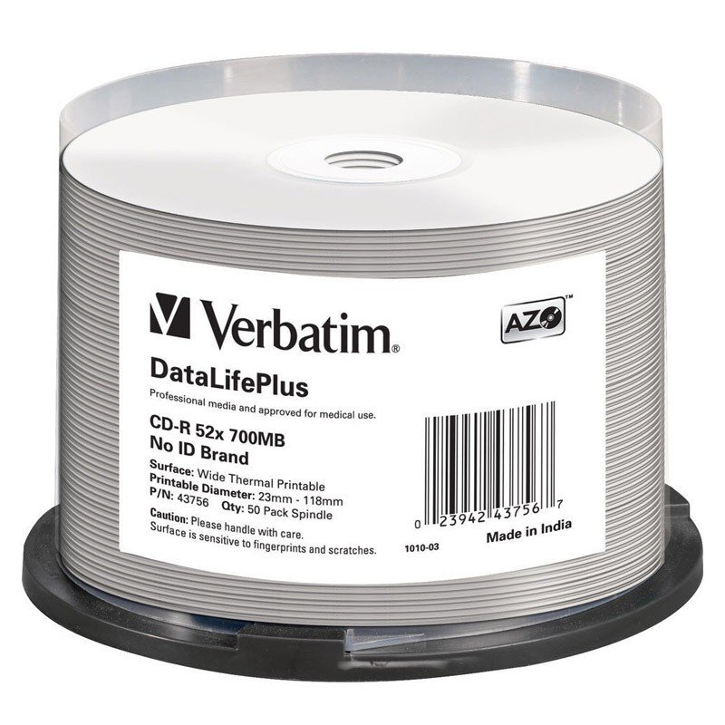 CD-R 52X Verbatim DataLifePlus Thermal Professional No ID Brand Tarrina 50 uds