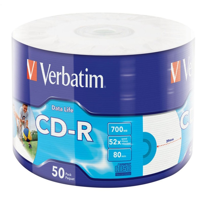 CD-R 52x White Printable Verbatim Data Life Bobina 50 uds