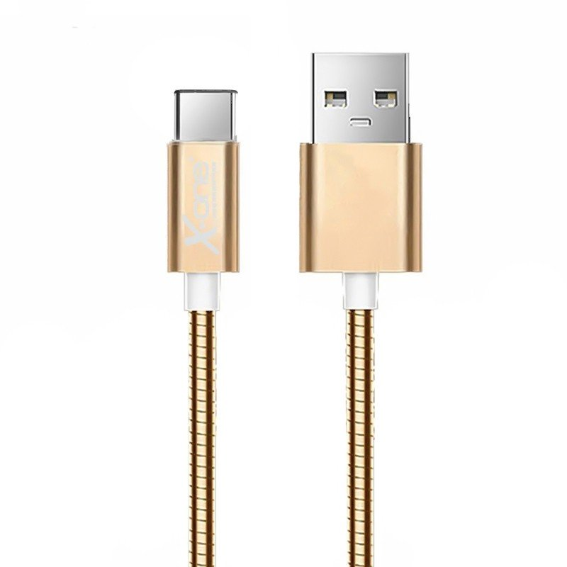 Cable USB a Micro USB Tipo-C Metal X-One CMC1000 Oro Rosa 1mtr