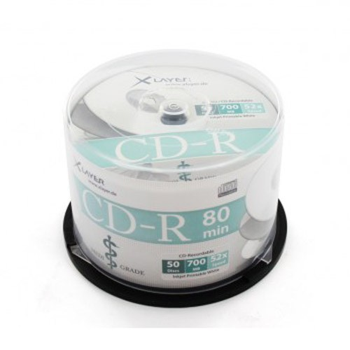 CD-R 52X XLayer MediGrade Printable FF White Tarrina 50 uds