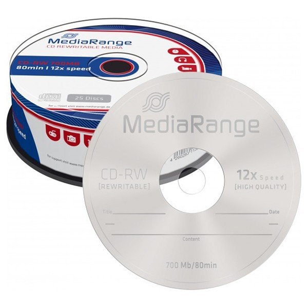 CD-RW 12x 700MB MediaRange Regrabable Tarrina 25 uds