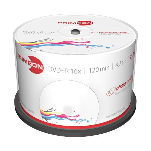 DVD+R 16X PrimeON Photo FF Printable Tarrina 50 uds