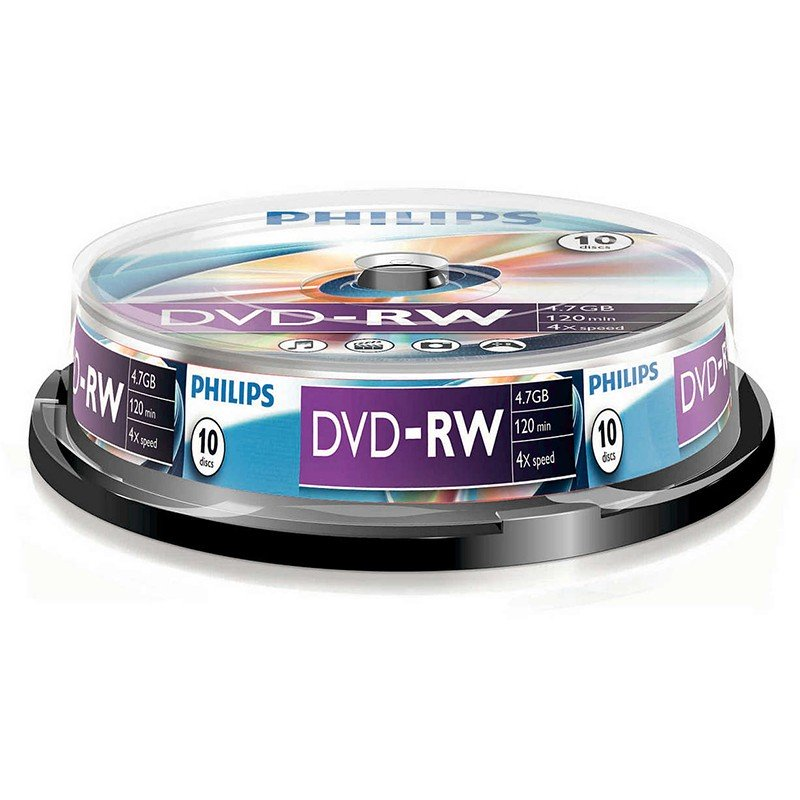 DVD-RW Philips 4x Tarrina 10 uds