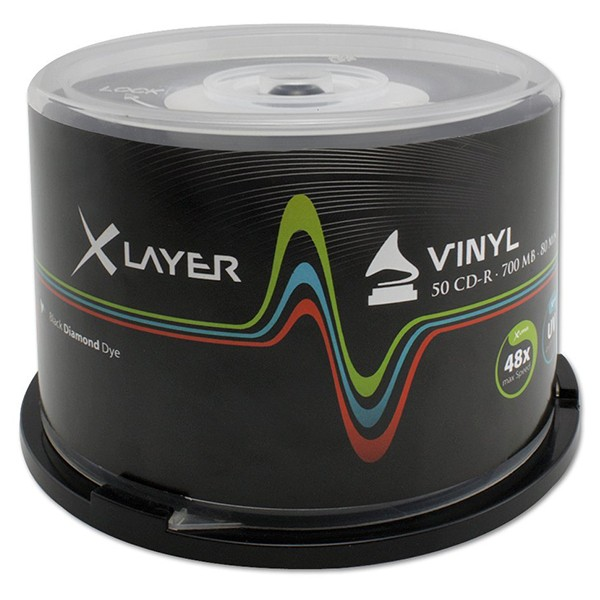 CD-R 48x Xlayer Black Vinyl Inkjet Printable Tarrina 50 uds