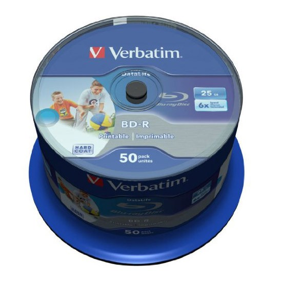 Blu-ray BD-R HTL SL Datalife 25GB 6X Verbatim Wide Printable Spindle 50 uds